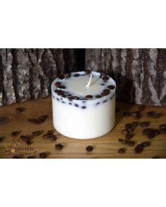 Rapšu vaska svece ar kafijas pupiņām