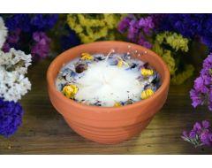 Rapšu vaska svece ar augiem un citronzāles ēterisko eļļu