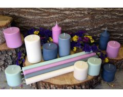 Krāsainas rapšu vaska sveces cilindra formas