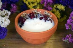 Rapšu vaska svece ar augiem un citronzāles ēterisko eļļu Nr 2