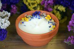Rapšu vaska svece ar augiem un citronzāles ēterisko eļļu Nr 3